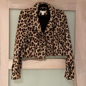 Cropped motorcycle jacket in leopard print